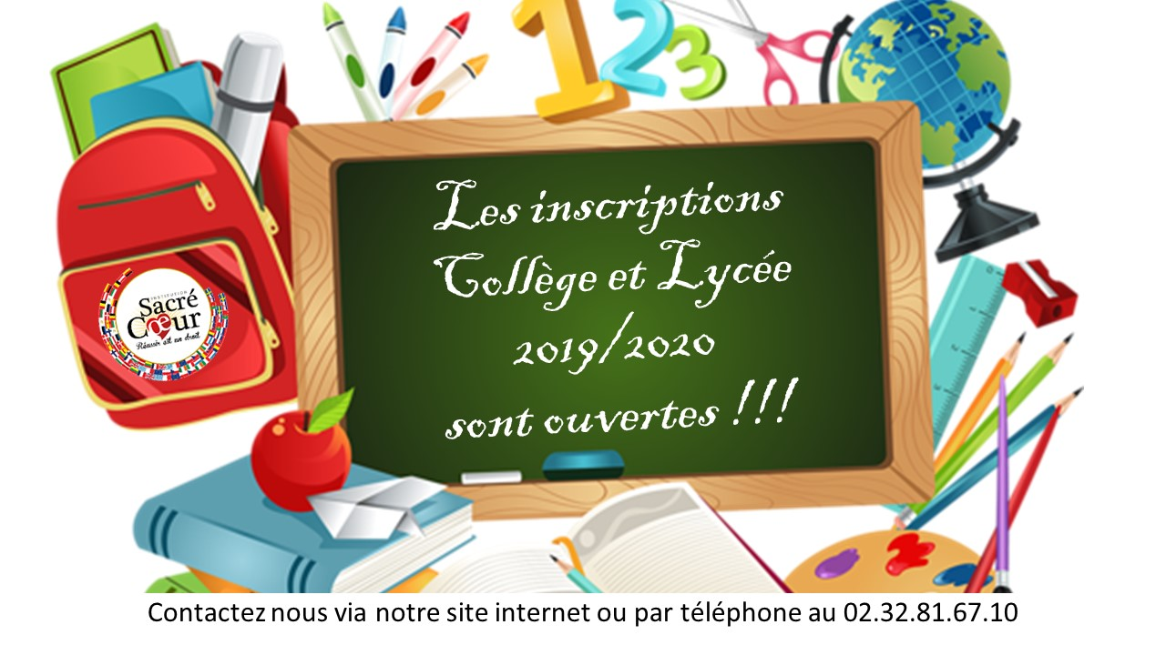 Les inscriptions Collège et Lycée 2019/2020 sont ouvertes !!!