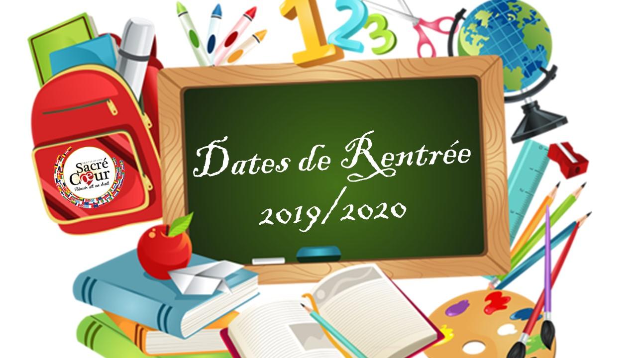 Dates de Rentrée 2019/2020