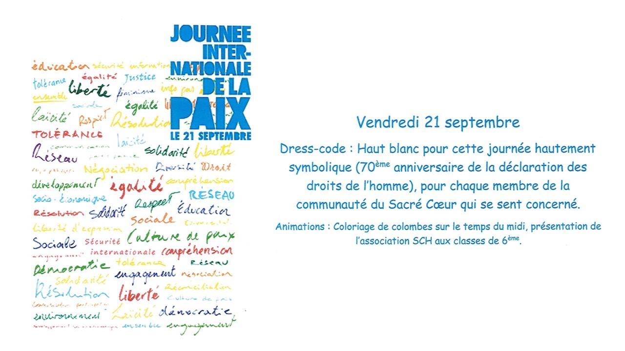 Journée Internationale de la Paix 21/09/2018